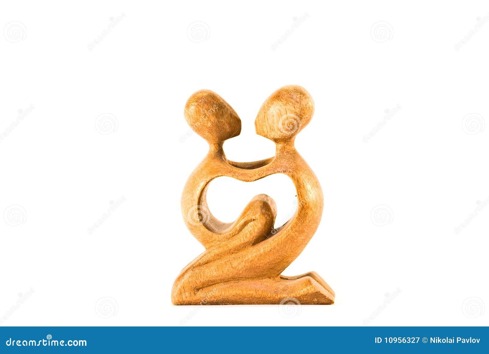 Dziecko drewniana statuy jej kobieta