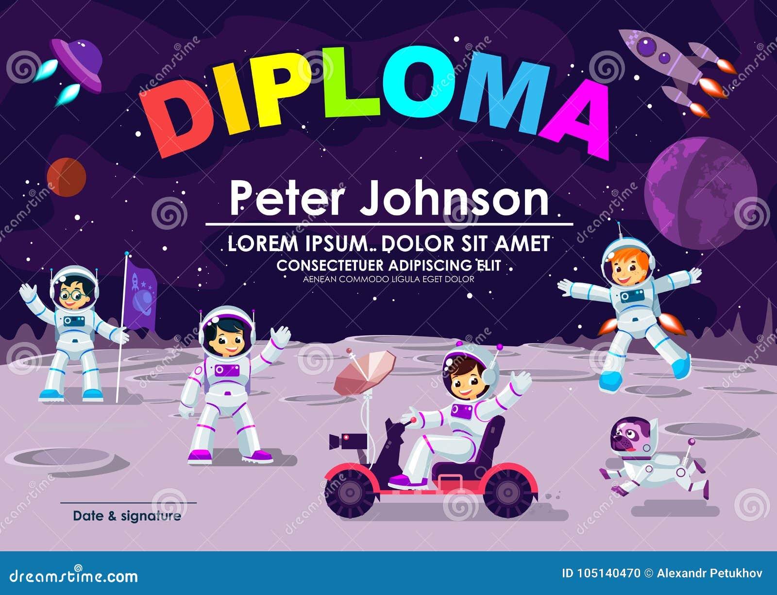 Dziecko dyplom lub świadectwo osiągnięcie & docenienie księżyc Astronautycznego tematu Chłodno Wektorowy szablon Dziecko astronau
