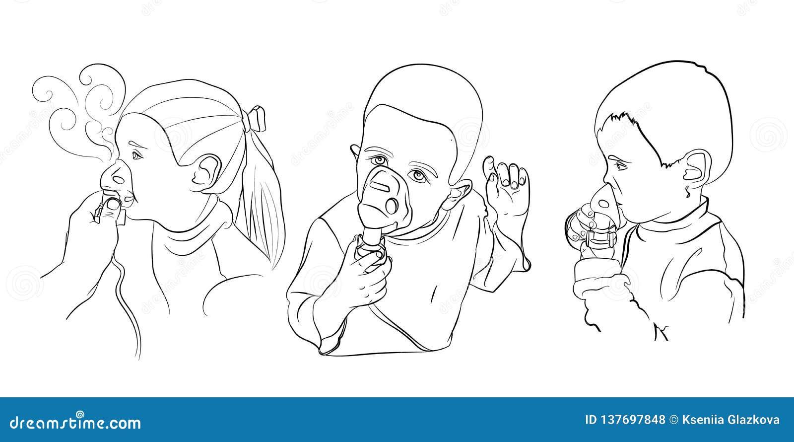 Dziecko inhalacji traktowanie wektor