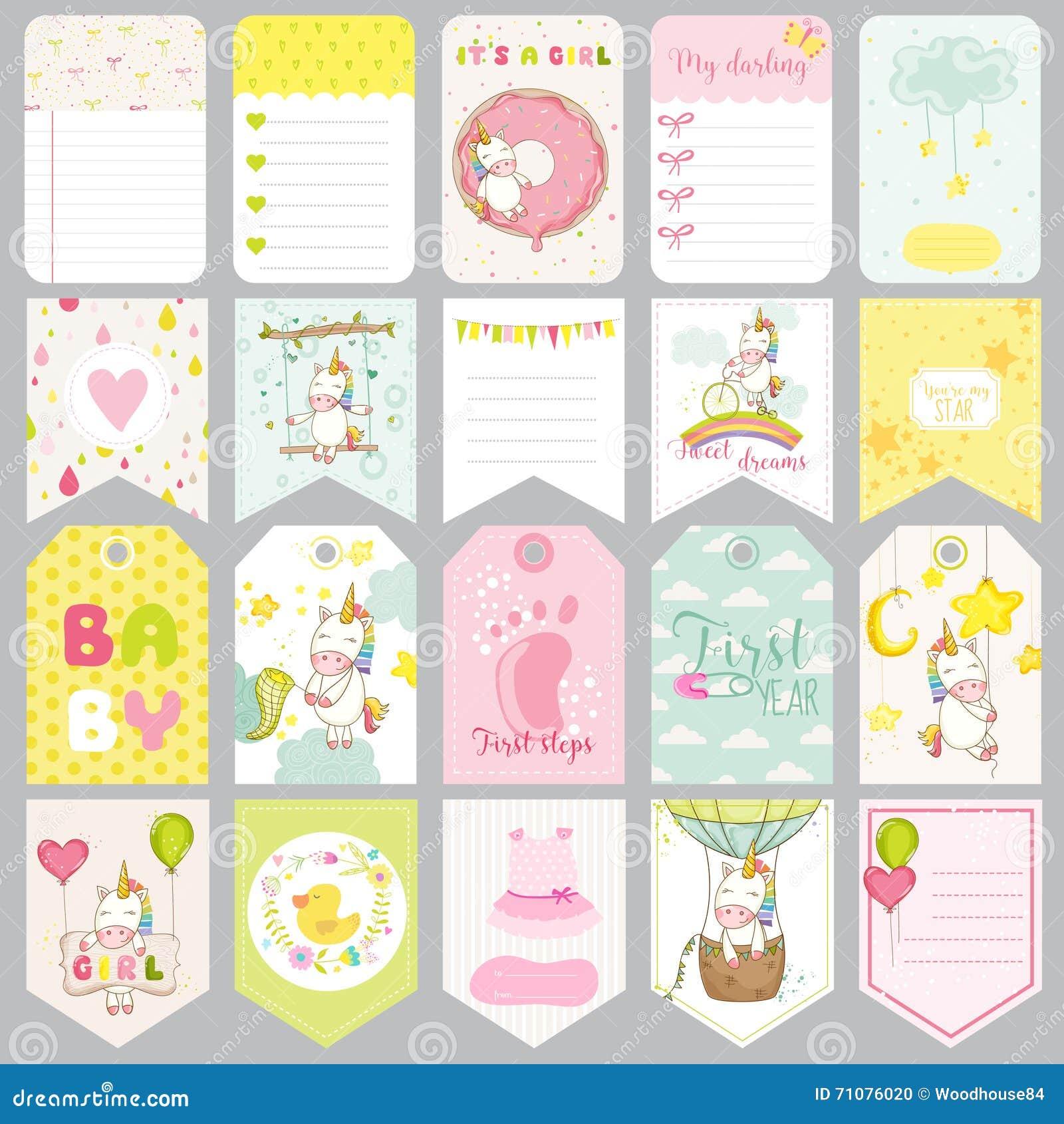 Dziecko jednorożec etykietki Dziecko sztandary Scrapbook etykietki Śliczne karty