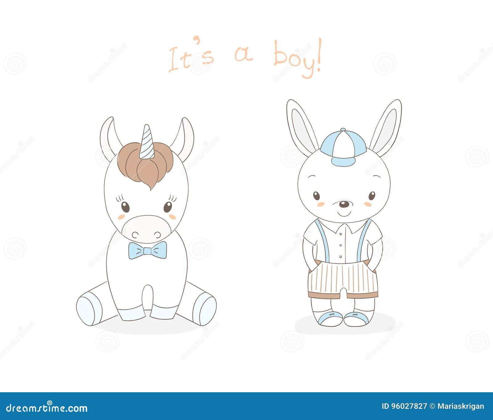 Dziecko królika chłopiec i dziecko jednorożec chłopiec