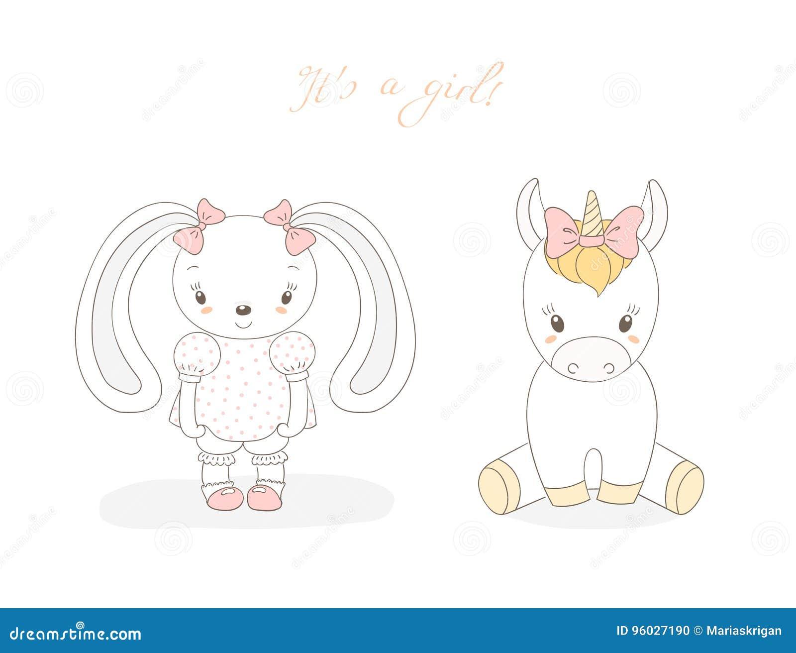 Dziecko królika dziewczyna i dziecko jednorożec dziewczyna