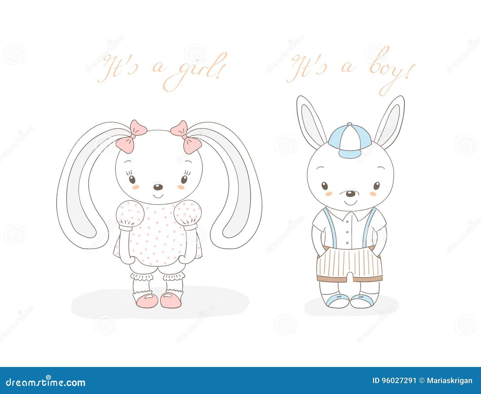 Dziecko króliki chłopiec i dziewczyna