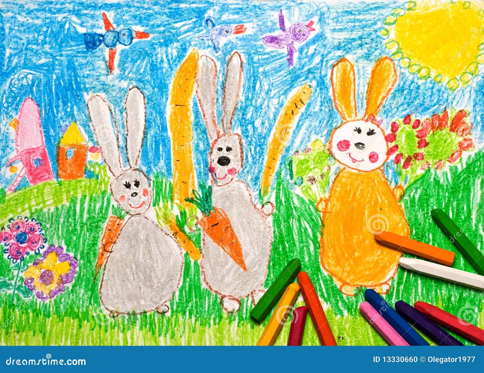 Dziecko króliki rysunkowi rodzinni s
