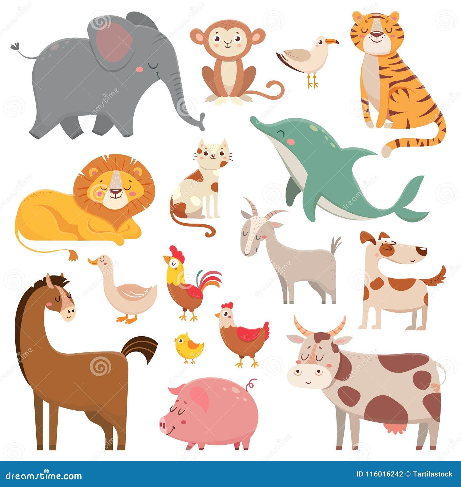 Dziecko kreskówki słoń, frajer, delfin, dzikie zwierzę Zwierzęcia domowego, gospodarstwa rolnego i dżungli zwierząt kreskówki ilu