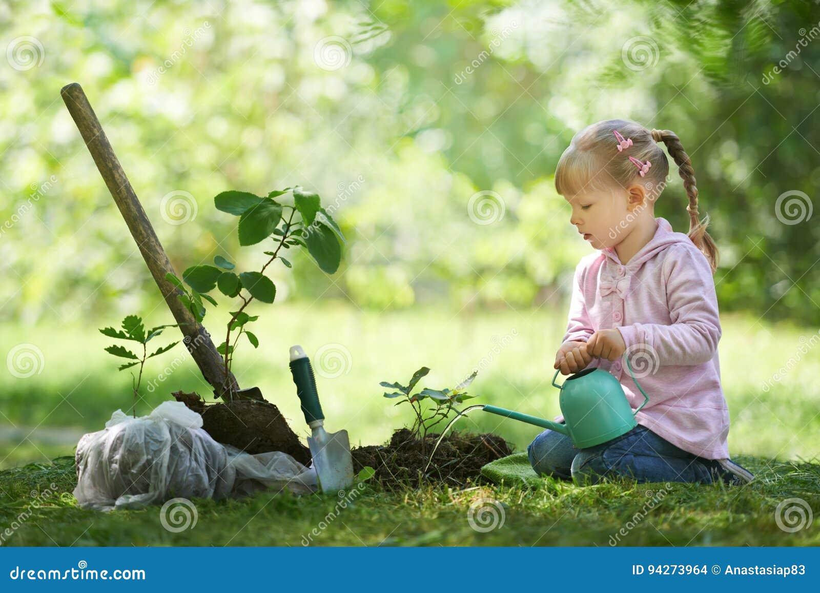 Dziecko nawadnia troszkę drzewa