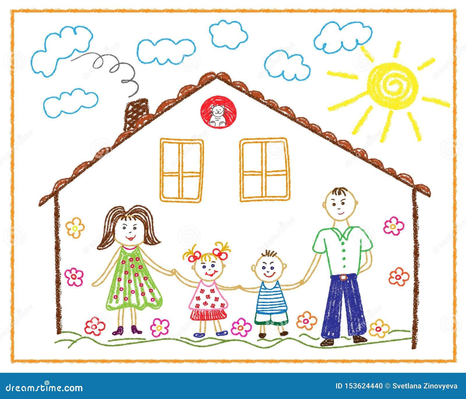 Dziecko ołówkowy rysunek na tum rodzinie, dom, przyjaźń, miłość