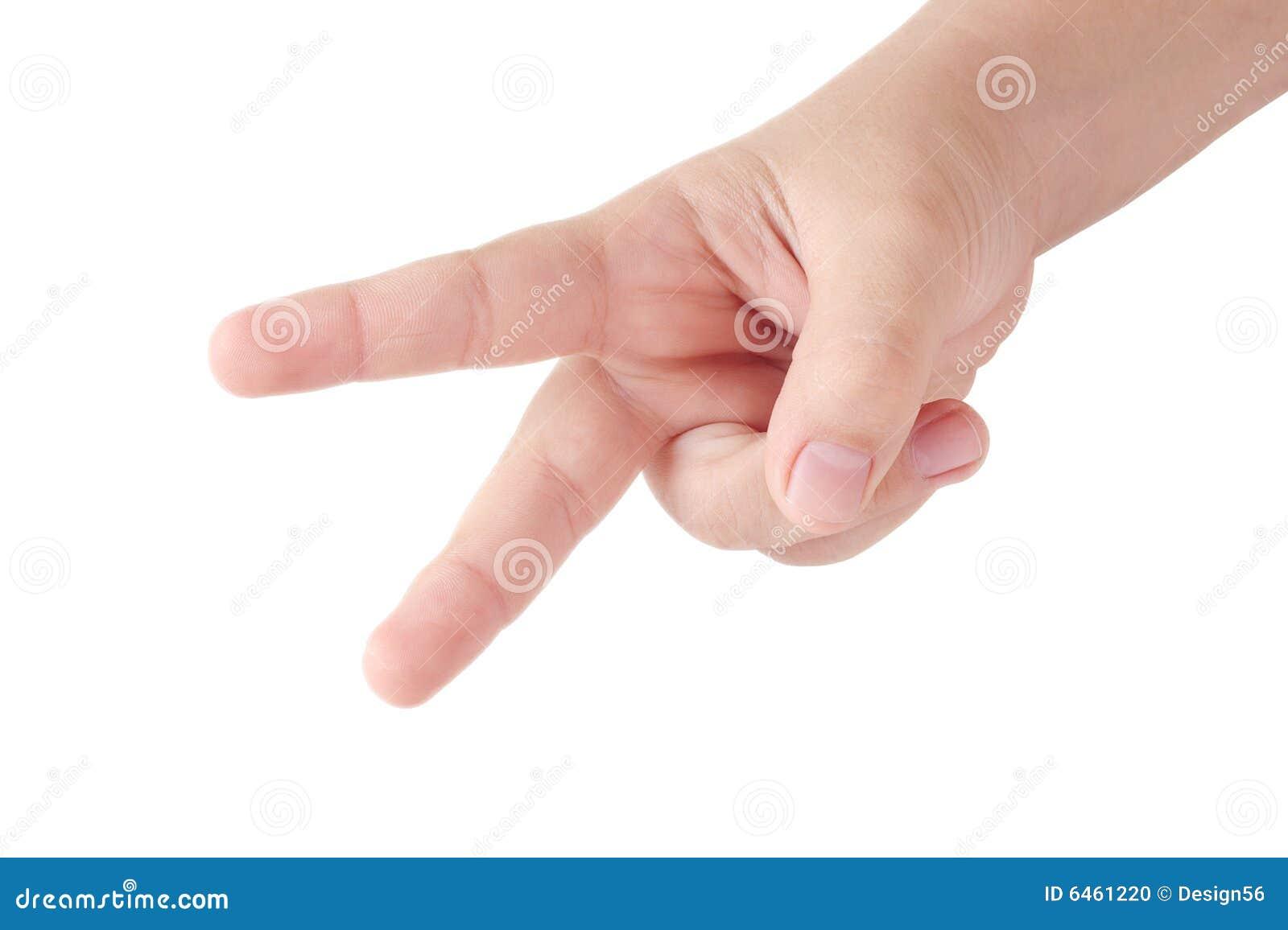 Dziecko palców ręki pokazuje s 2