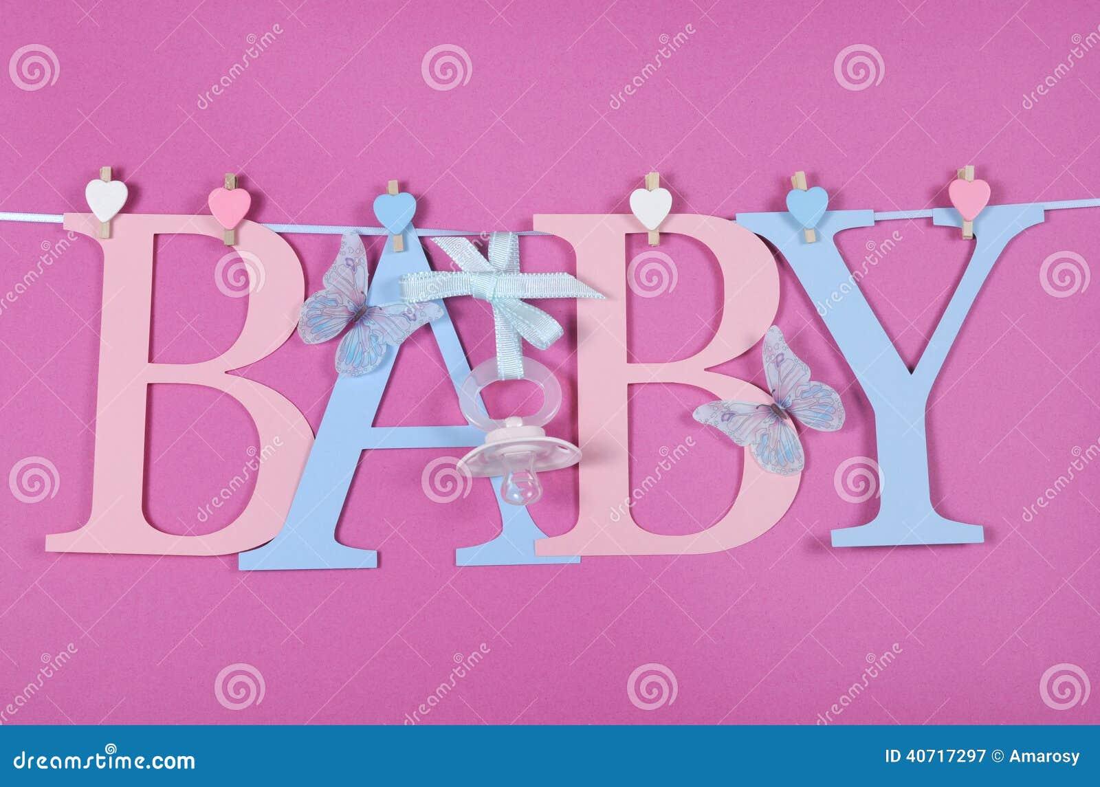 Dziecko pepiniery błękita i menchii listów chorągiewka