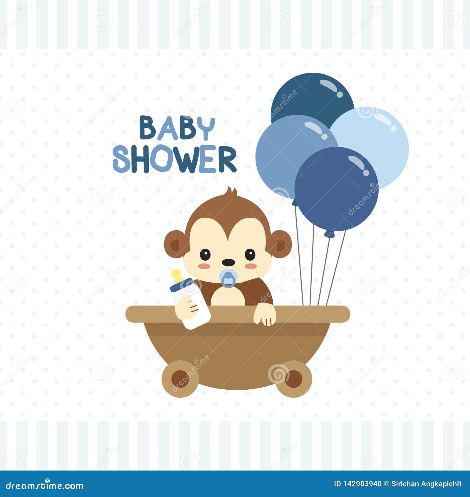 Dziecko prysznic kartka z pozdrowieniami z małą małpą