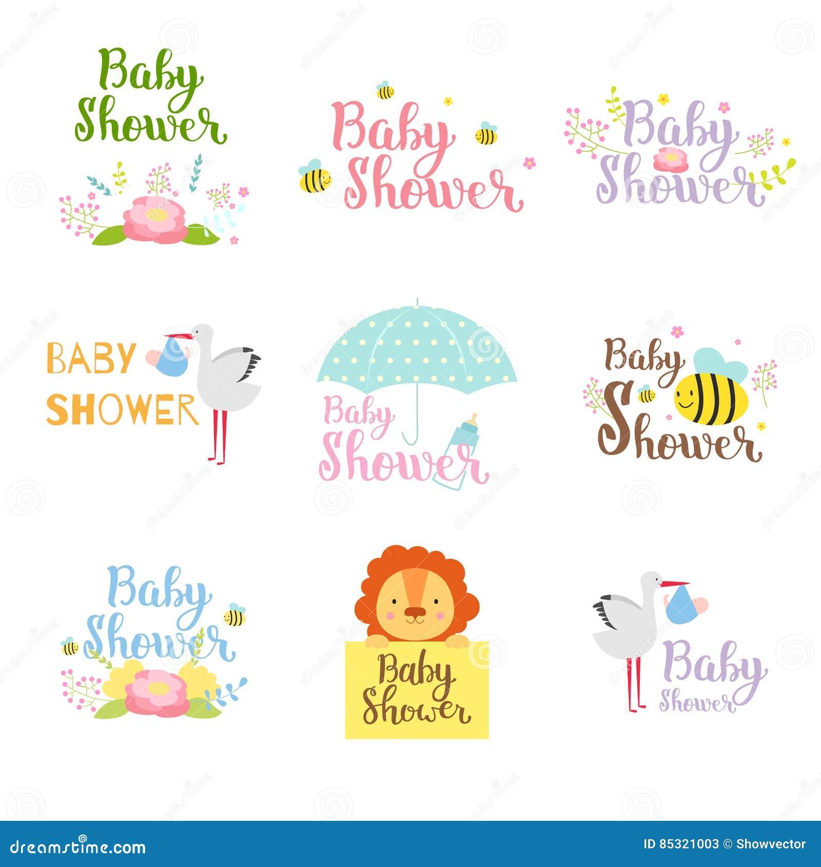 Dziecko prysznic odznaki wektoru set
