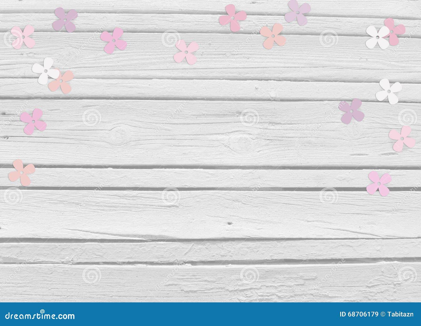 Dziecko prysznic, urodzinowy dzień, ślubna mockup scena z białym drewnianym tłem, kwiecisty papierowy bez lub hortensja confetti,