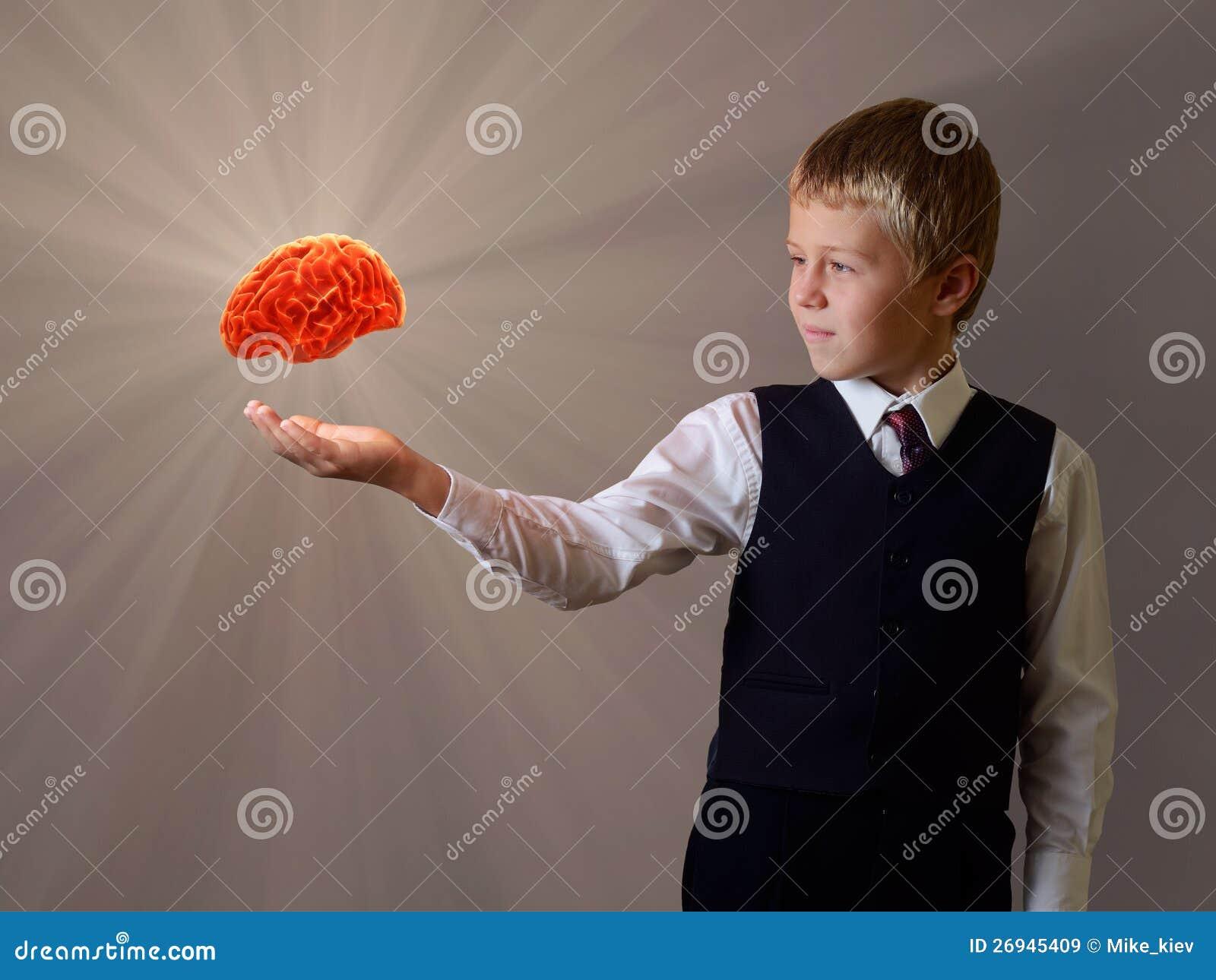 Dziecko ręka rozjarzony mózg