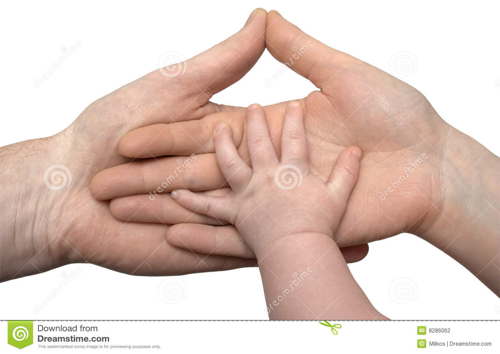Dziecko ręka wręcza s mienie odizolowywającym rodzicom
