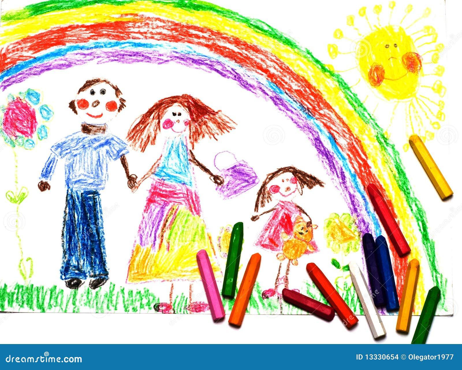 Dziecko rysunkowy rodzinny szczęśliwy s