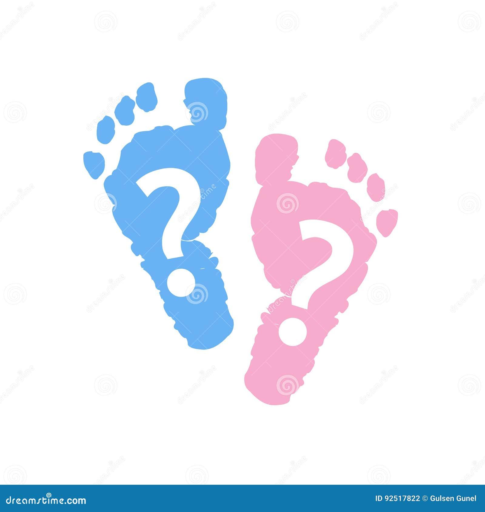 Dziecko stopy druki Dziewczynki chłopiec Bliźniaczy dziecko symbol Dziecko rodzaj wyjawia symbol