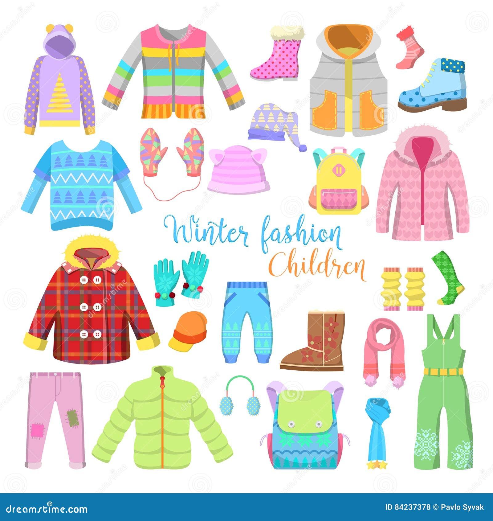 Dziecko zima Odzieżowa i akcesoria Inkasowi z kurtkami, kapeluszami i pulowerami,