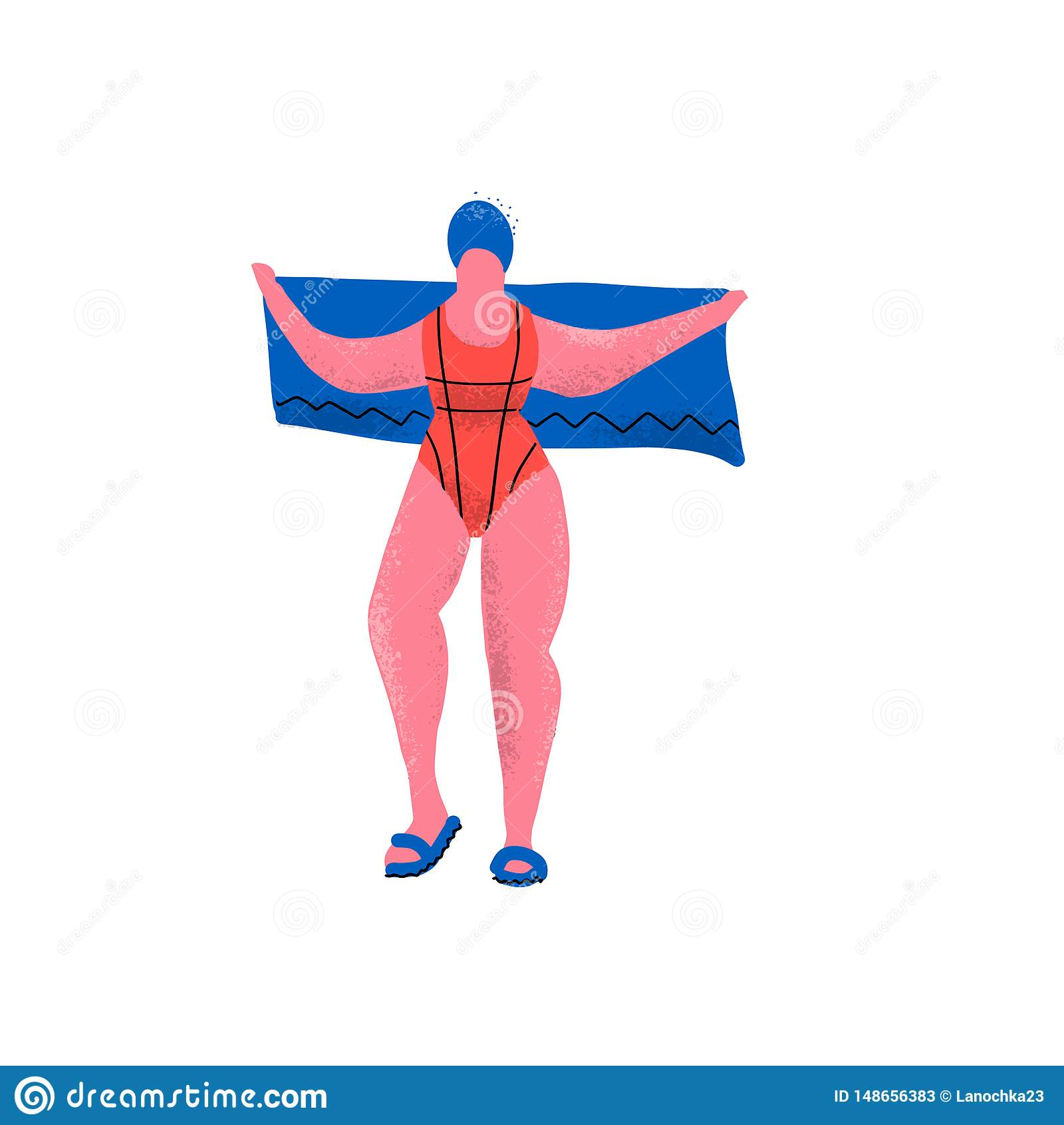 Dziewczyn rzeczy dla basenu i p?ywaczka: swimsuit, r?cznikowej i p?ywackiej nakr?tka, ?mieszny plus wielko?ciowa kobieta w trzepn