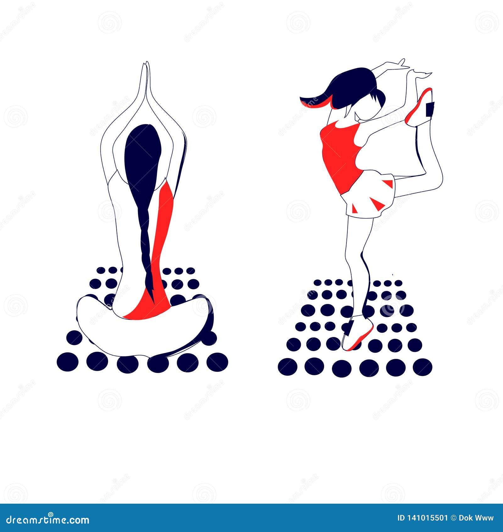 Dziewczyn sylwetek atlet gimnastyka i joga