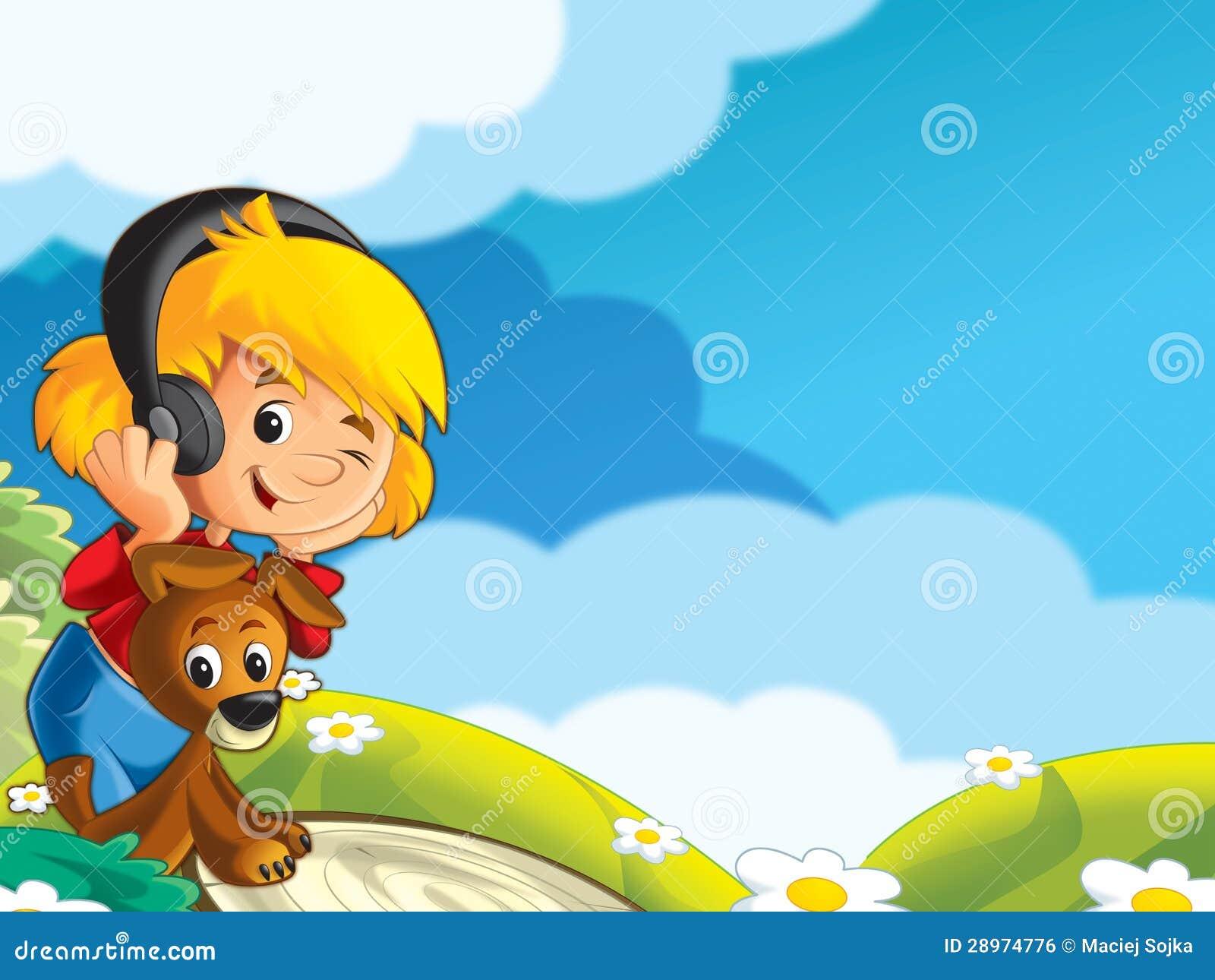 Dziewczyna bawić się z psem - patrzejący i słuchający