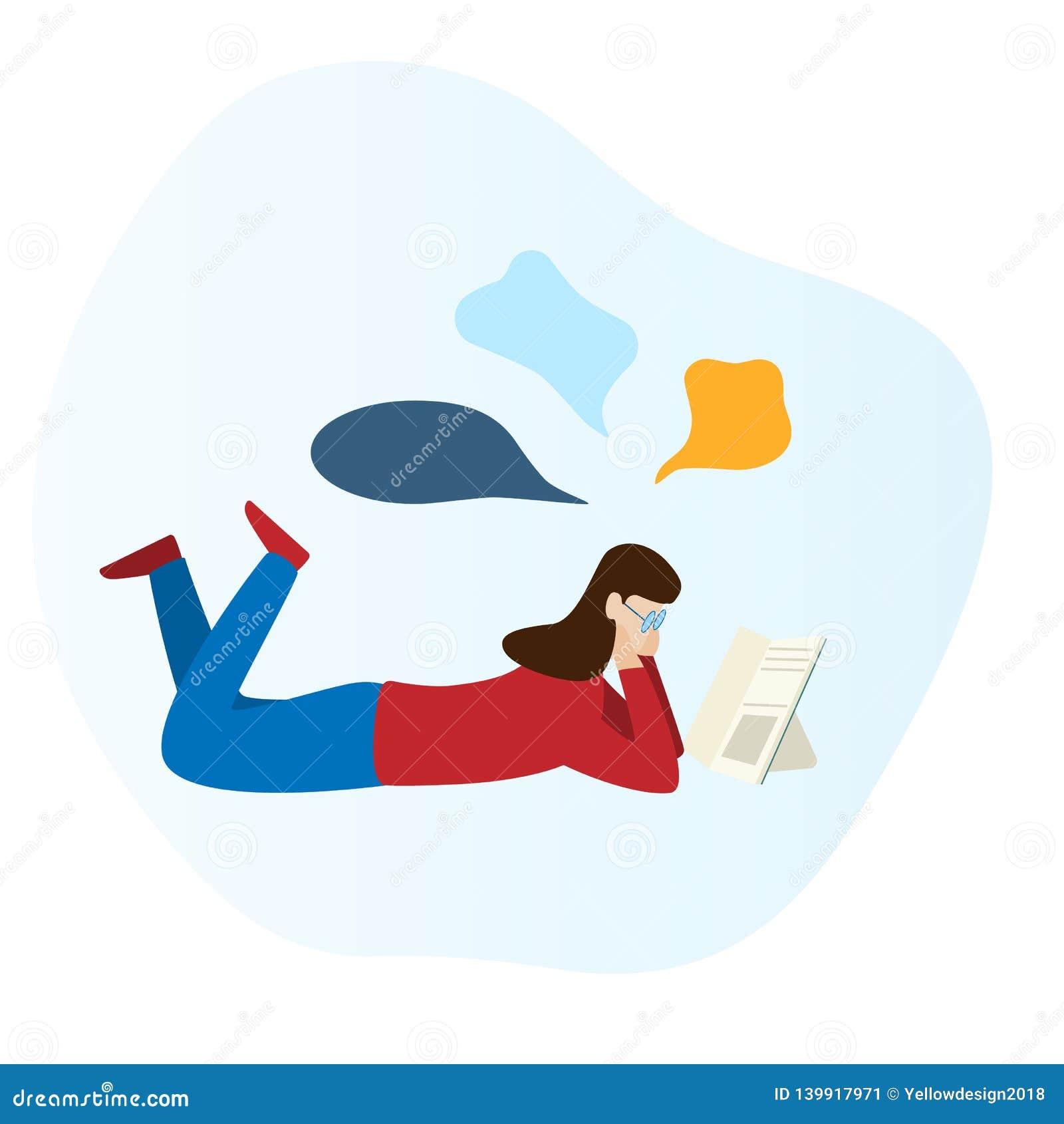 Dziewczyna czyta książkę i kłaść na podłodze