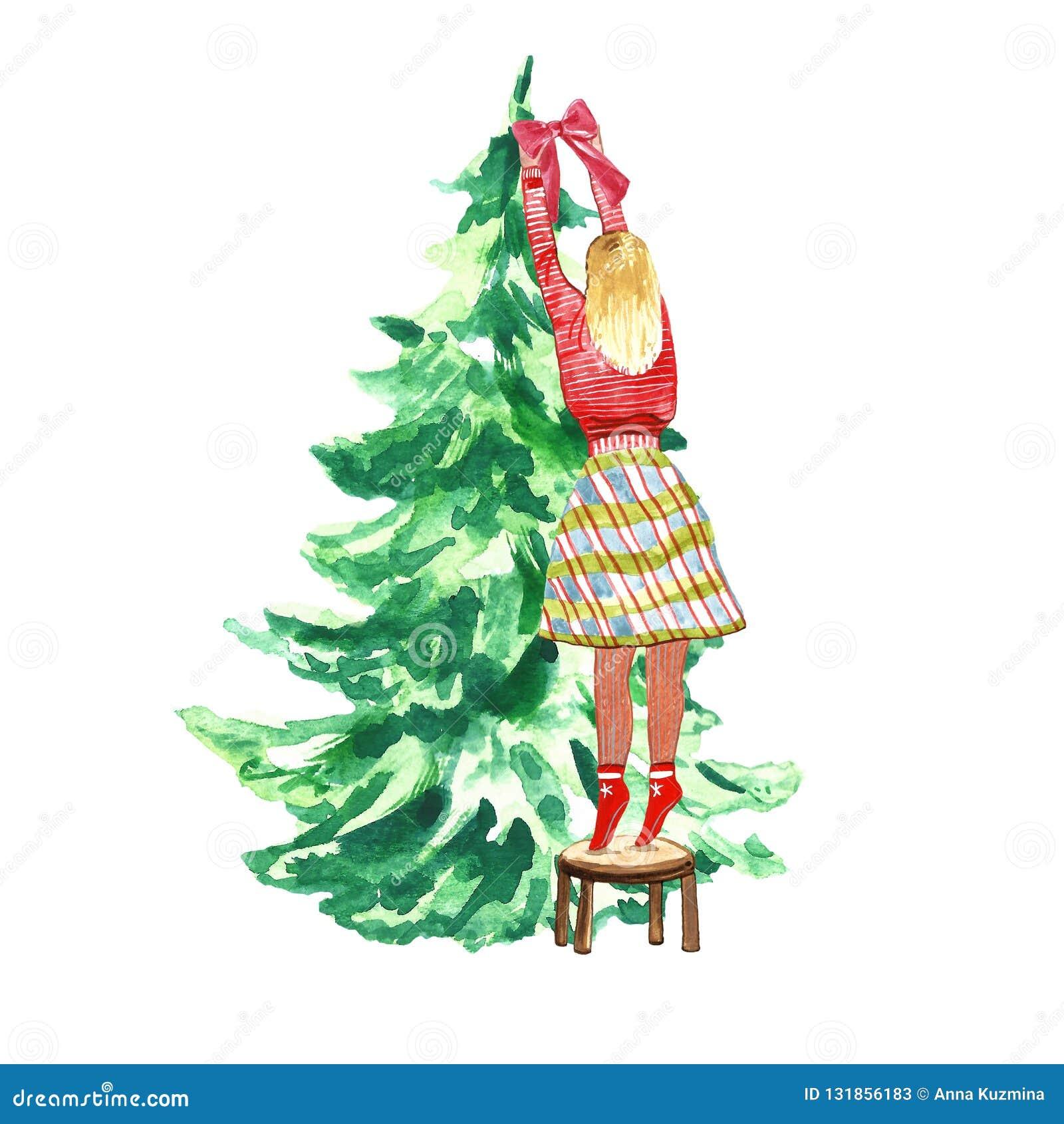 Dziewczyna dekoruje bożych narodzeń i nowego roku świerkowego drzewa z Czerwonym numer jeden w czerwonym zima pulowerze ono Kłani