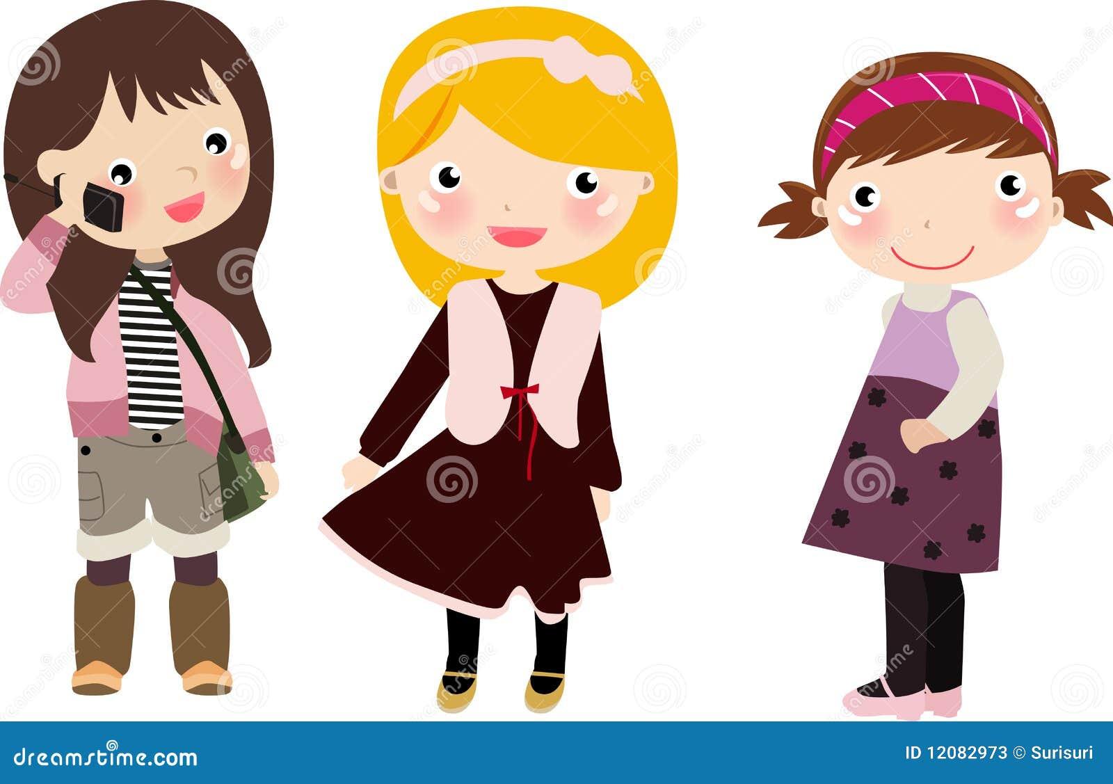 Dziewczyna dzieciaki trzy