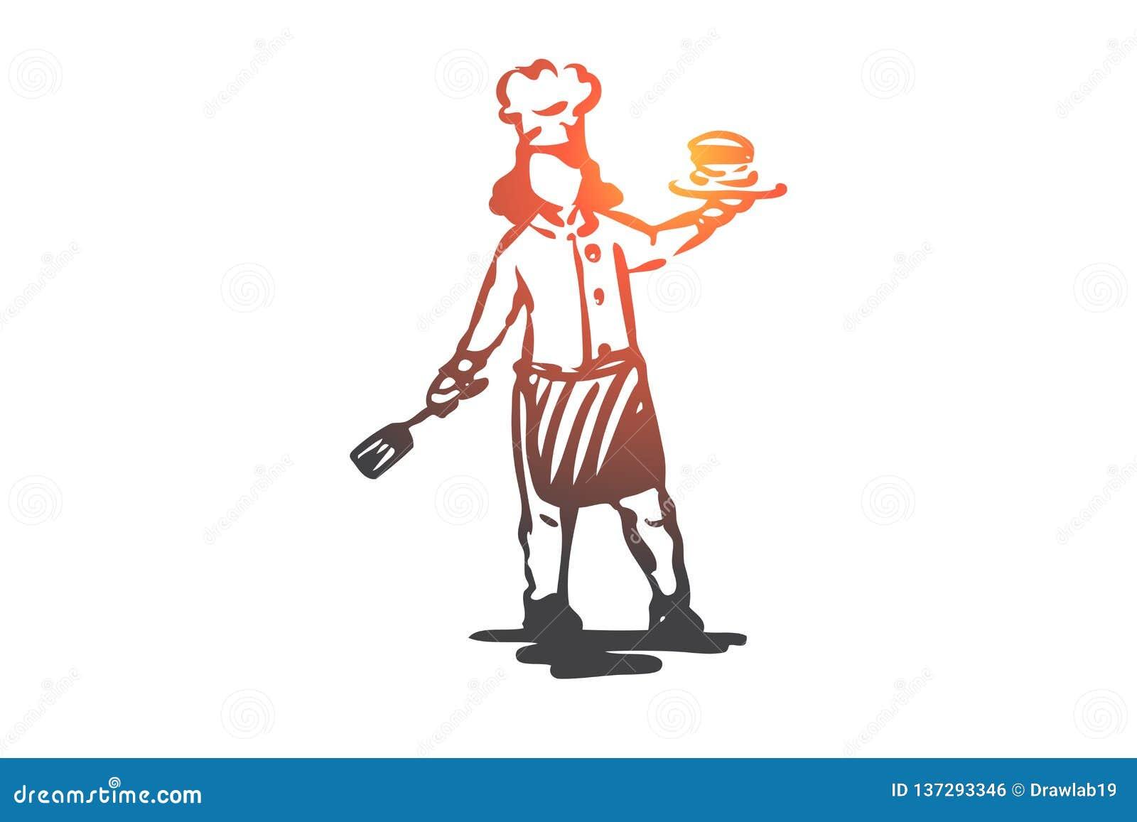 Dziewczyna, kucharz, bliny, kuchenny karmowy pojęcie Ręka rysujący odosobniony wektor