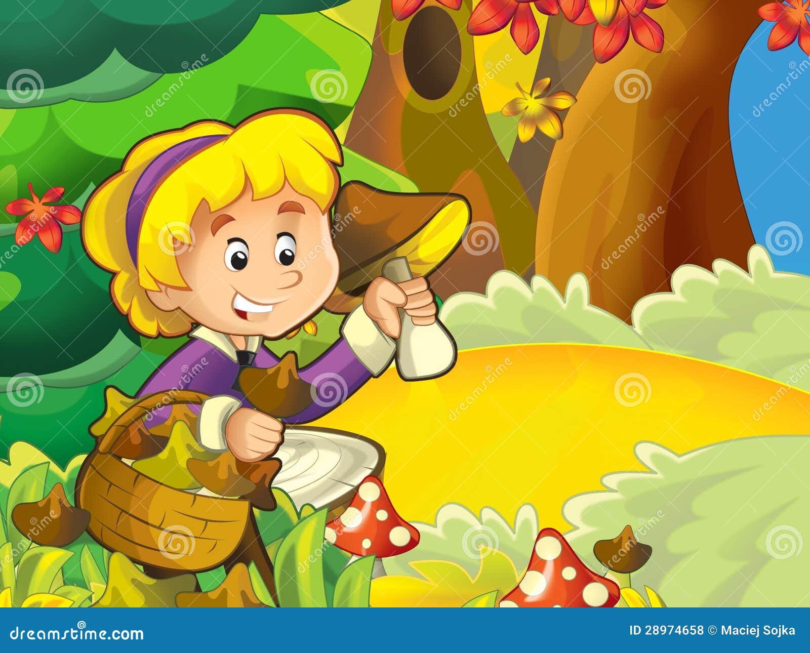 Dziewczyna na grzybobraniu - szukać pieczarki w haliźnie