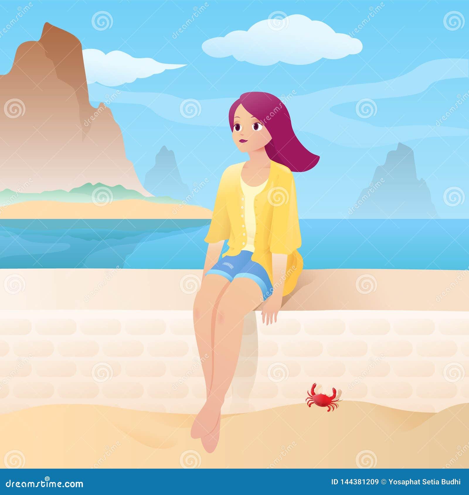 Dziewczyna na piaskowatej plaży z pięknym morzem i tropikalną wyspy scenerią