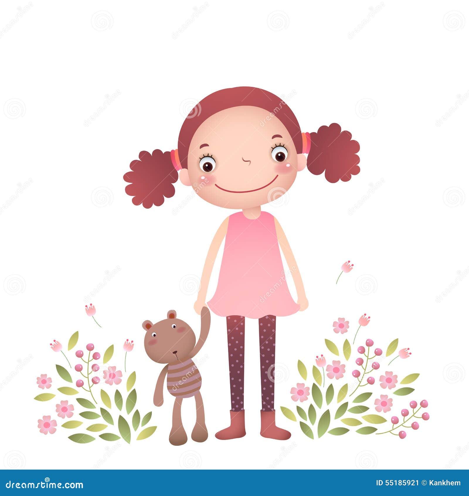 Dziewczyna niedźwiedzi strzału jej mały teddy badania