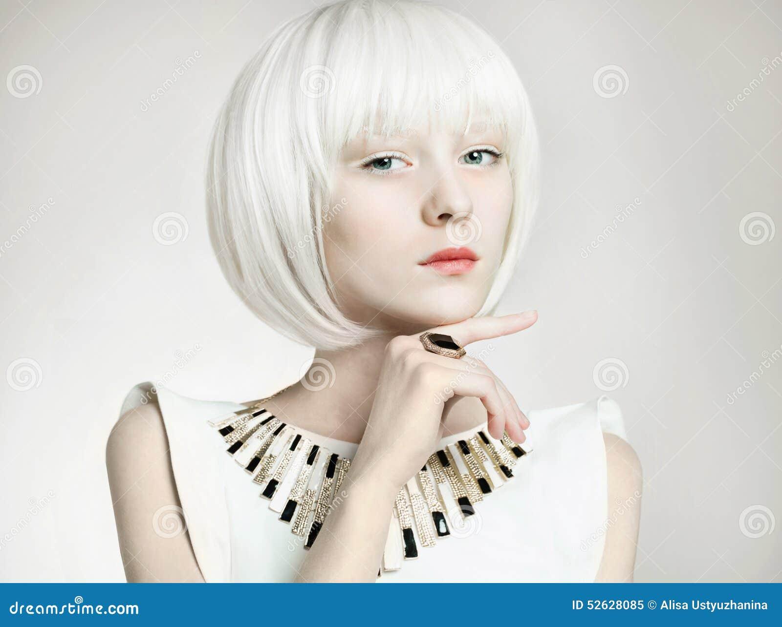 Dziewczyna Od Przyszłości Bob Fryzury Kobieta Obraz Stock