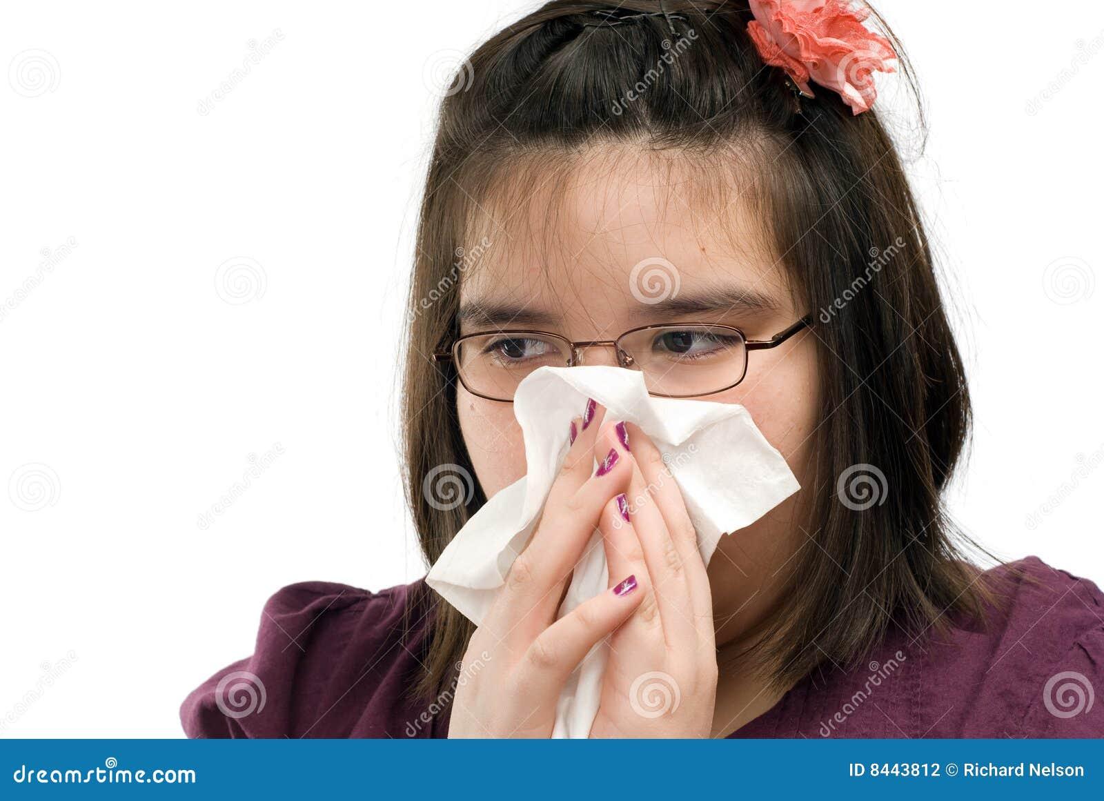 Dziewczyna podmuchowy nos