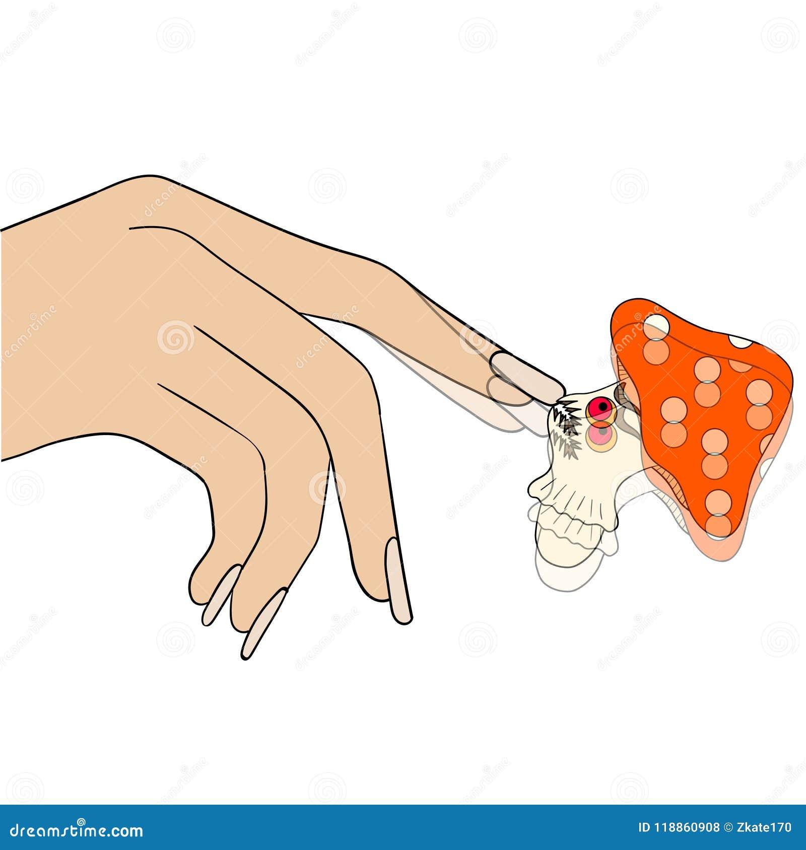 Dziewczyna próbuje dostawać ono pozbywa się gwoździa grzyb humor