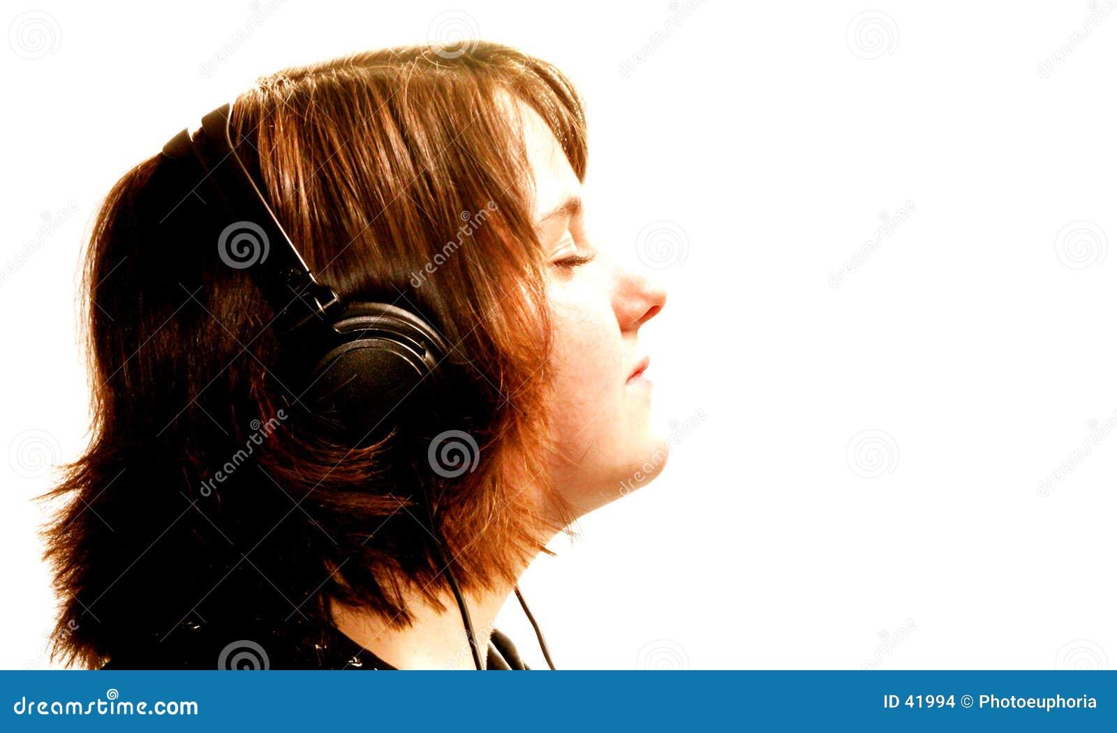 Dziewczyna słuchawki nastolatków.