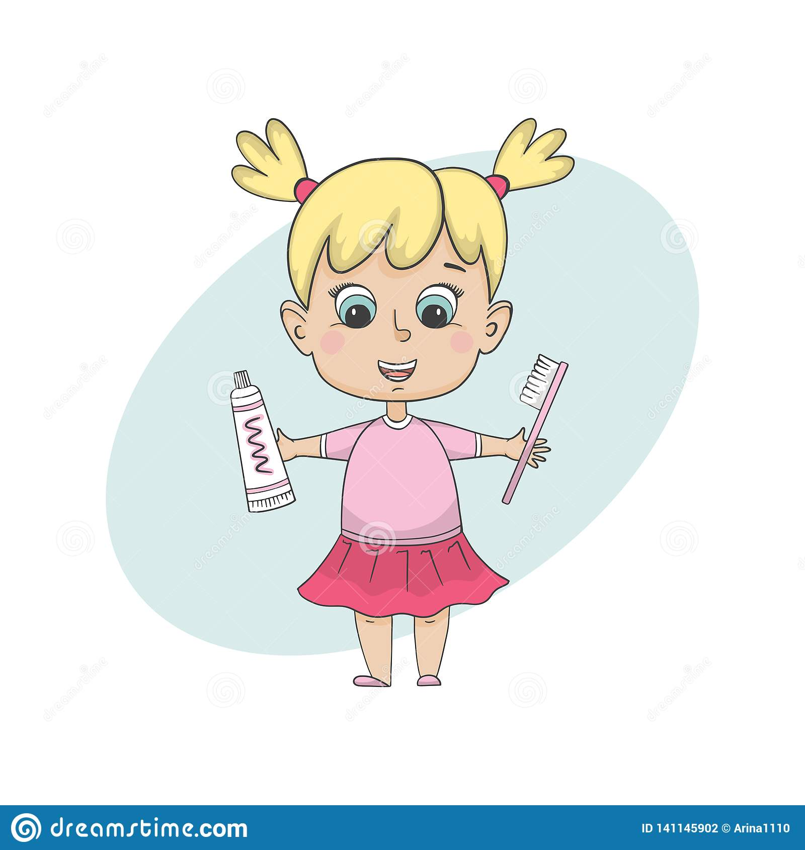 Dziewczyna szczotkuje zęby Odosobniony postać z kreskówki