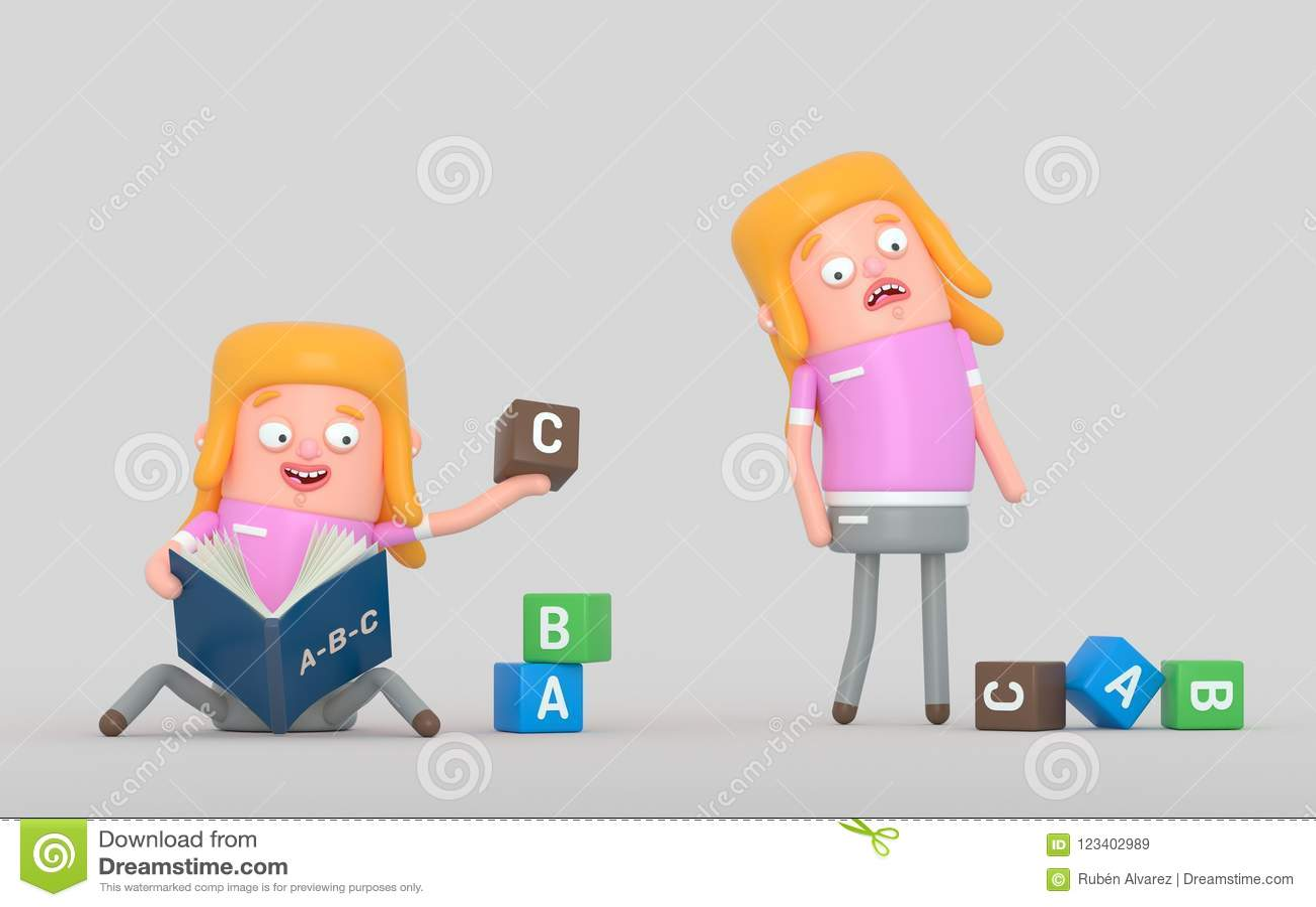 Dziewczyna uczy się proces w książce ilustracja 3 d