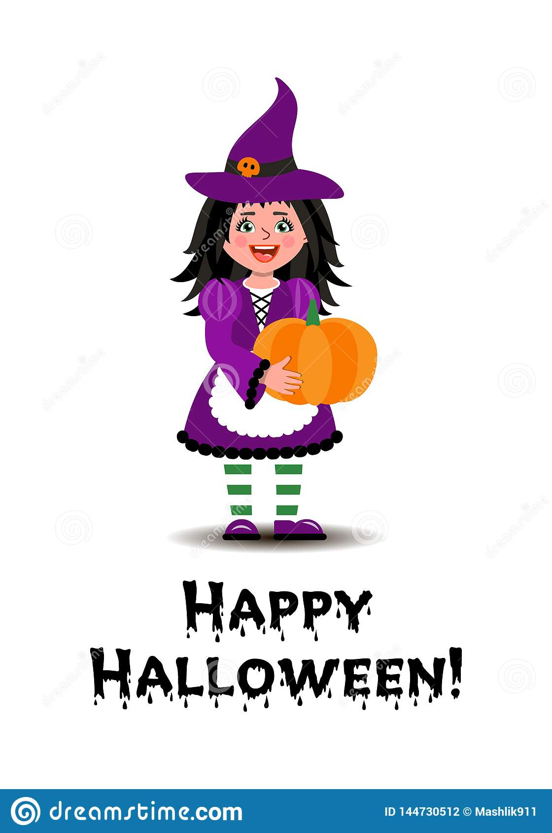 Dziewczyna w czarownica kostiumu trzyma bani dla Halloween Ilustracja w kresk?wka stylu