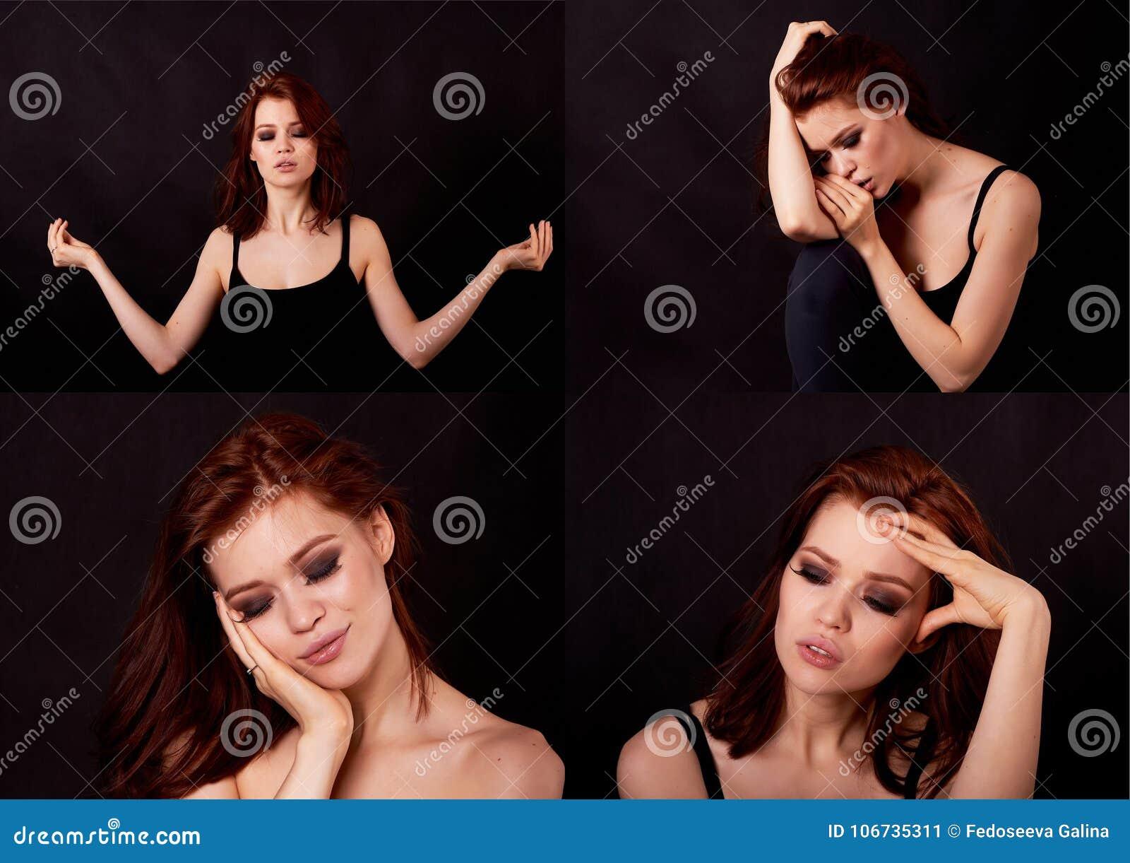 Dziewczyna w studiu na czarnym tle Czerwony włosy, wielka postać kolaż Emocjonalnego stanu ładne dziewczyny