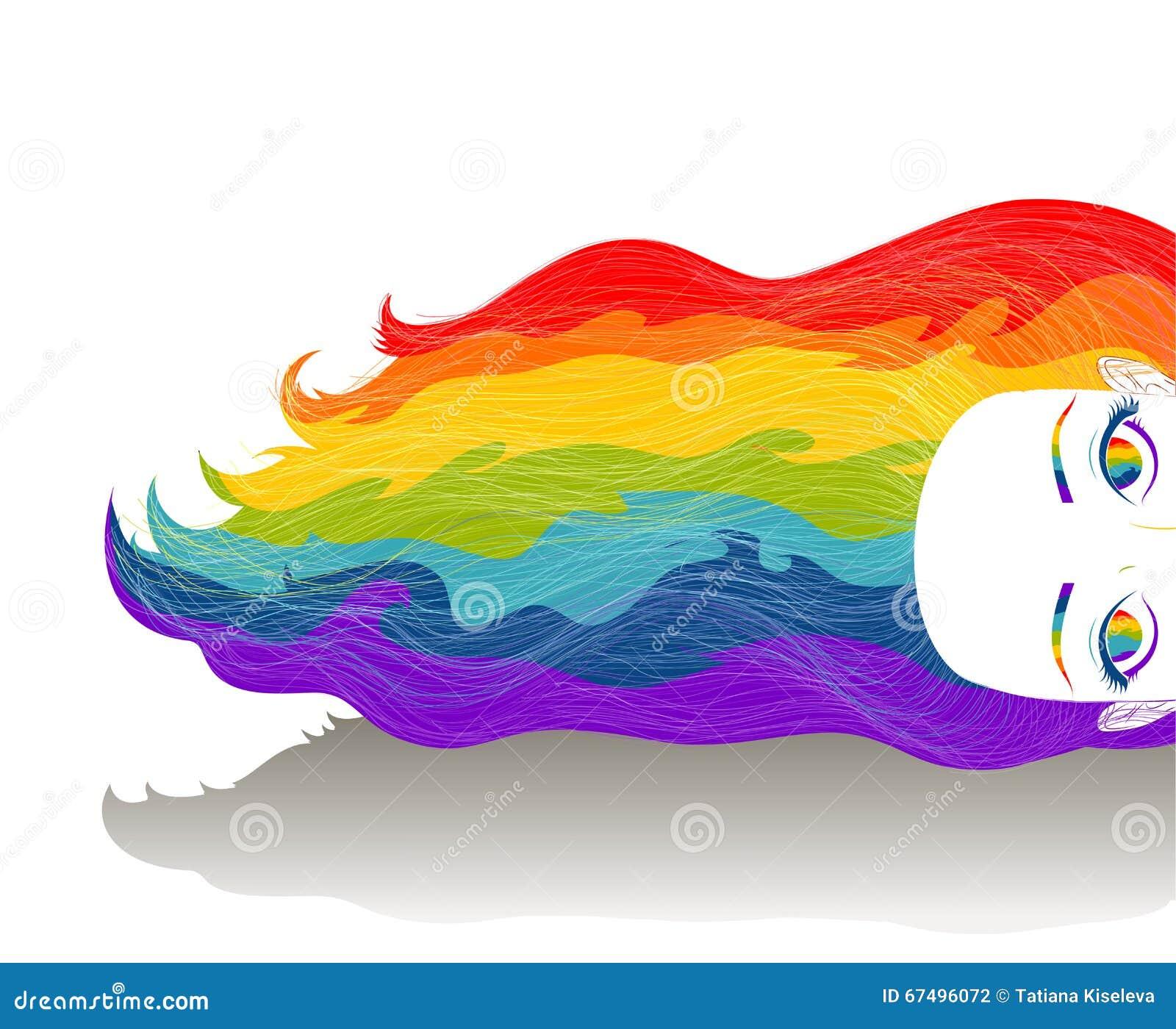 Dziewczyna z długim tęcza koloru włosy Umysł, kreatywnie