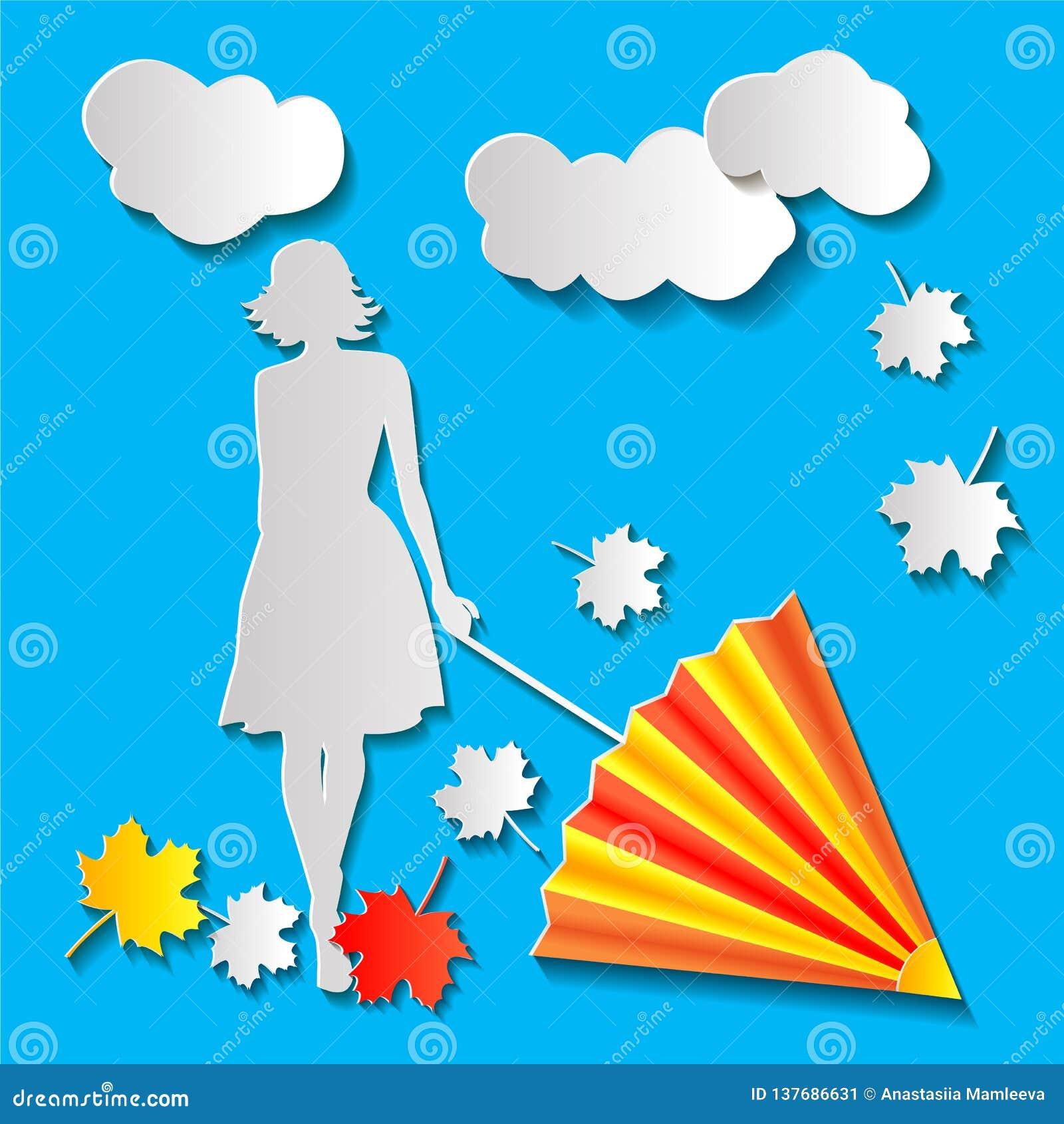 Dziewczyna z parasolem w jesieni
