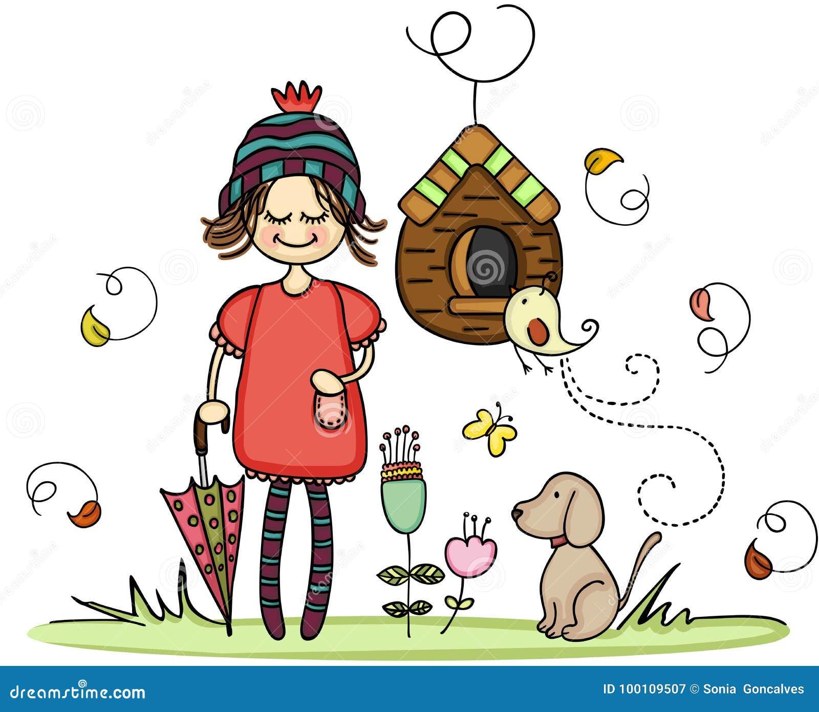 Dziewczyna z psem w jesień parku