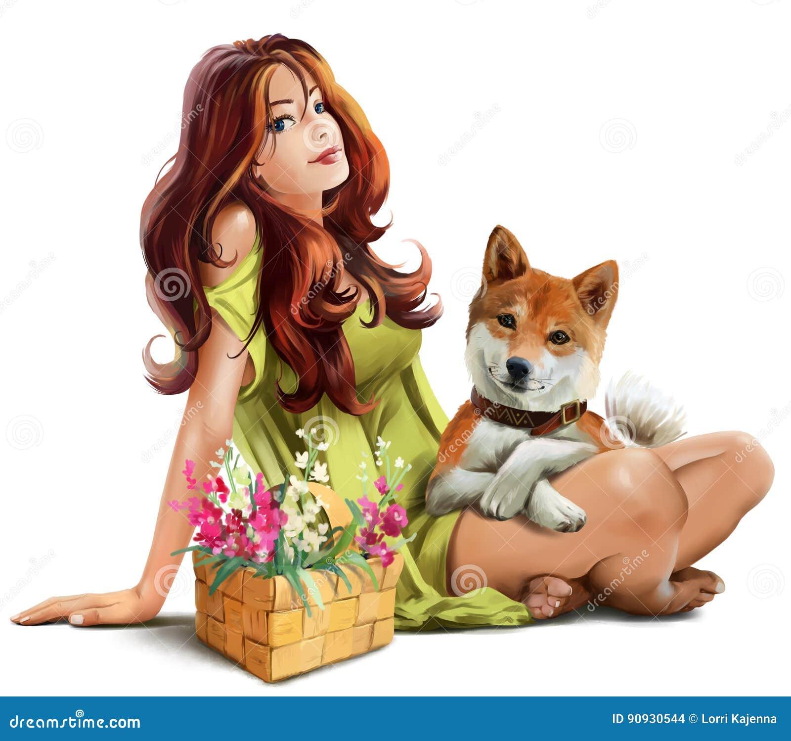 Dziewczyna z psim Shiba inu