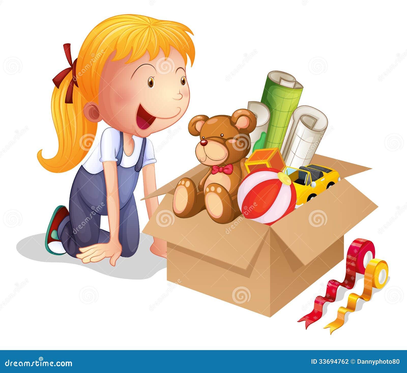 Dziewczyna z pudełkiem zabawki