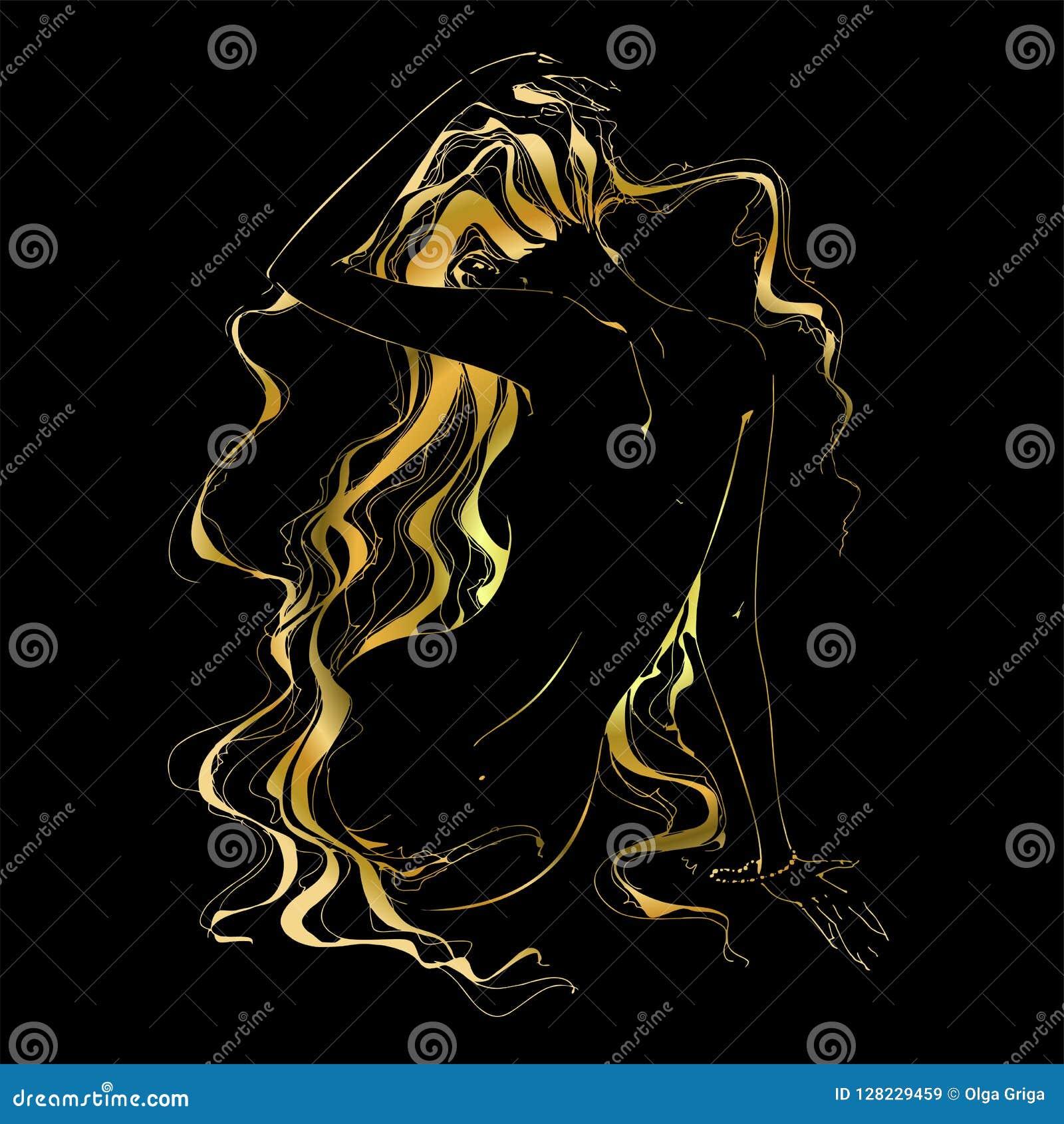 Dziewczyna z złotym włosy grafit również zwrócić corel ilustracji wektora
