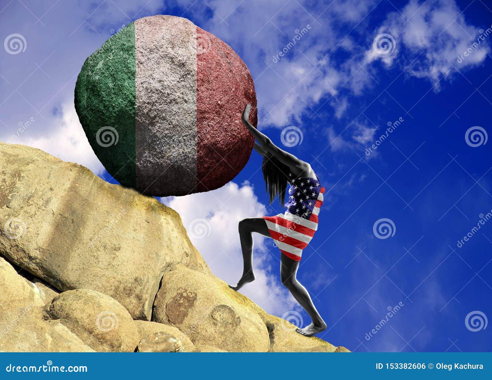 Dziewczyna, zawijająca w fladze Stany Zjednoczone Ameryka, podnosi kamień wierzchołek w postaci sylwetki flaga