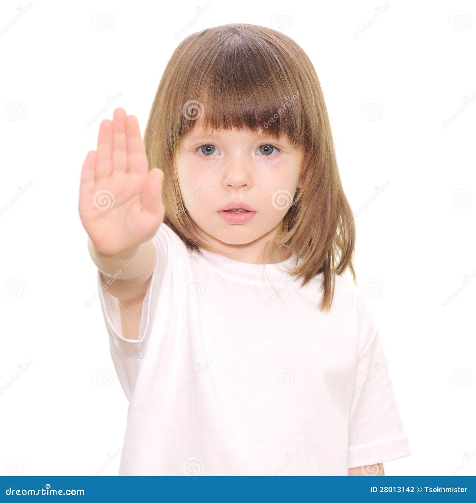 Dziewczynka gestów przerwy ręki znak