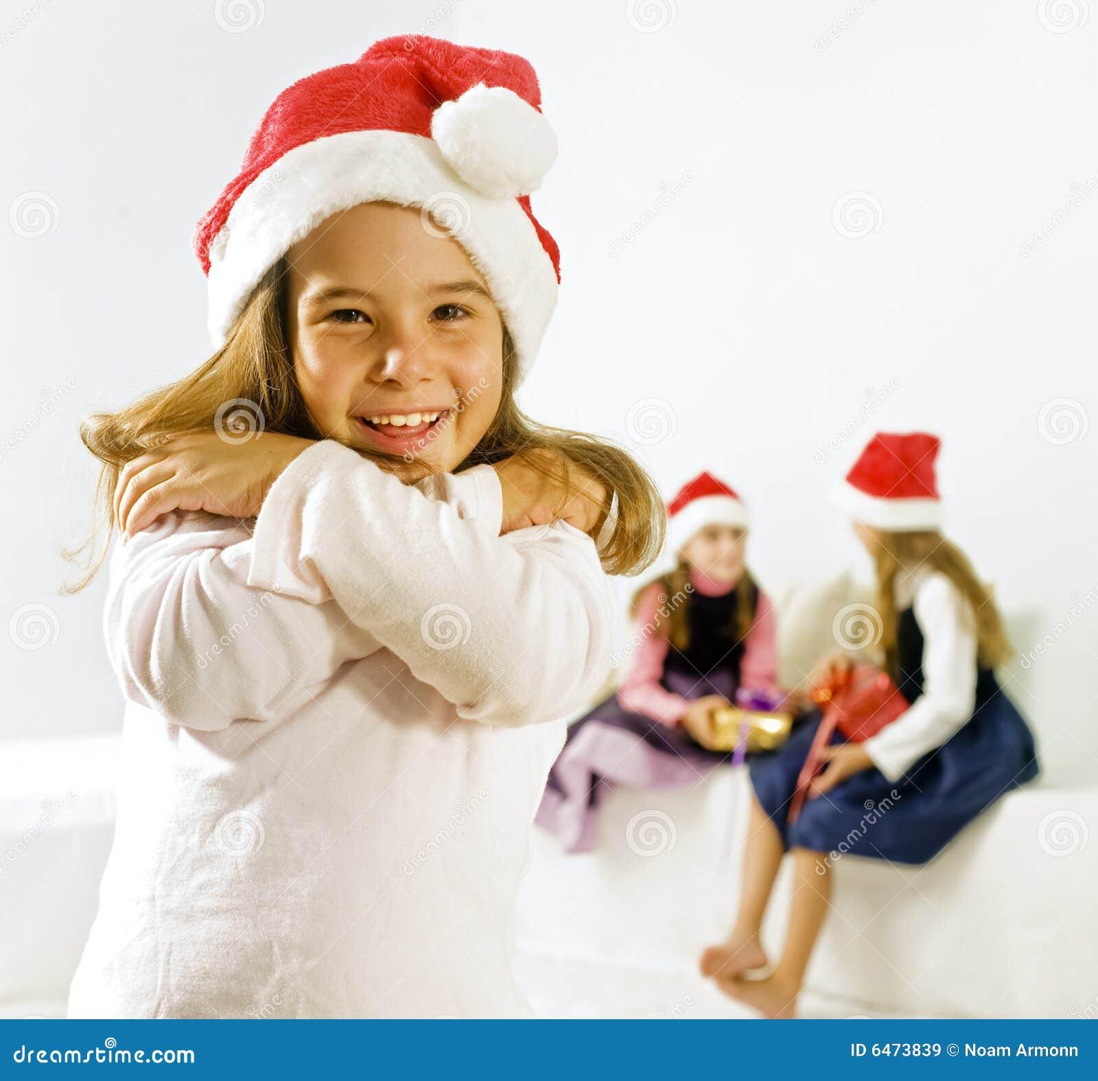 Dziewczyny świątecznej kapelusz trochę