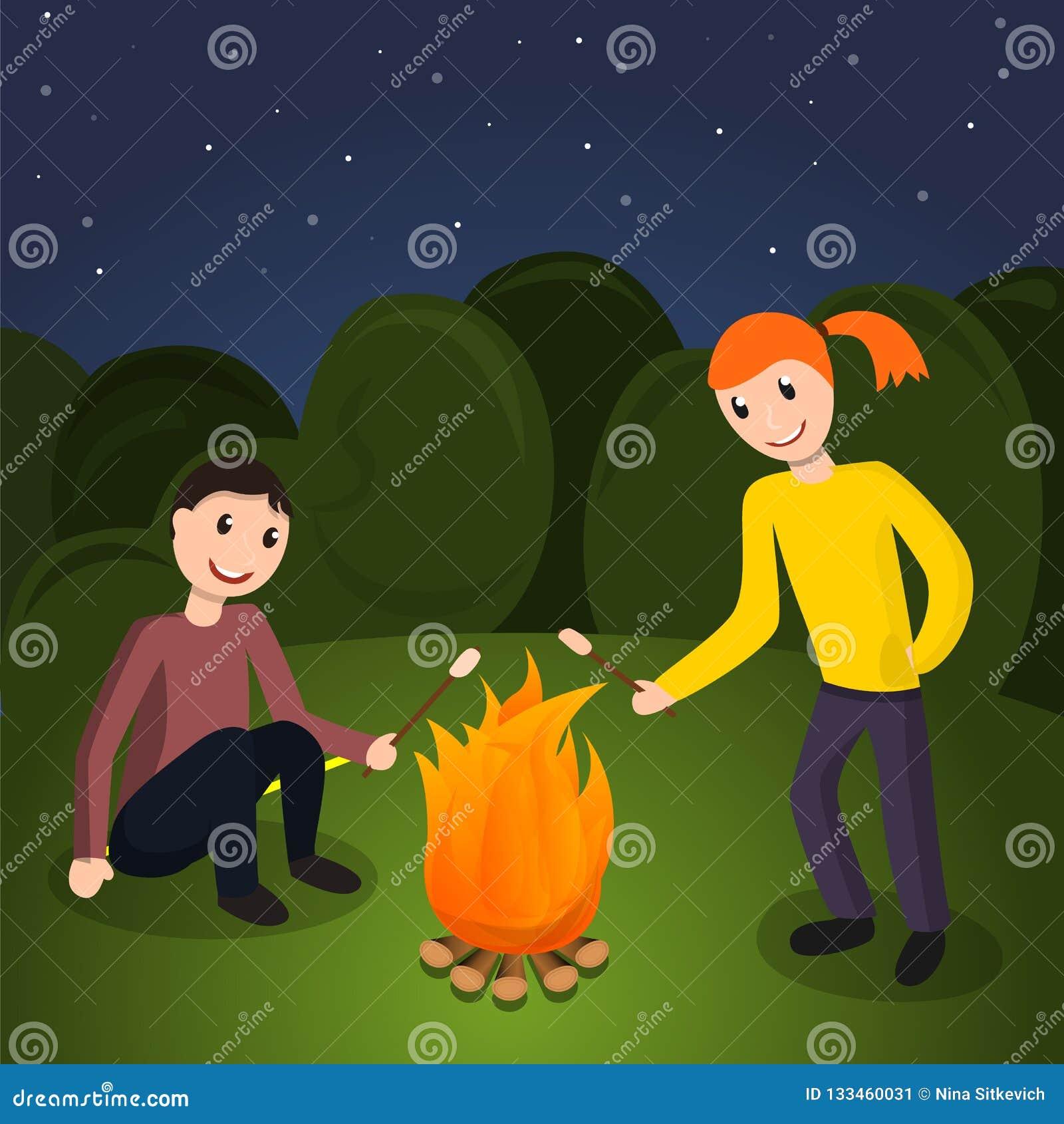 Dziewczyny chłopiec kucharza marshmallow pojęcia tło, kreskówka styl