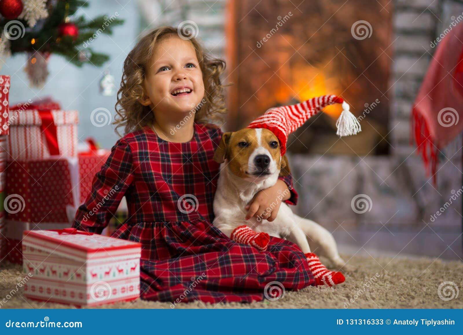 Dziewczyny dziecko świętuje boże narodzenia z psim Jack Russell Terrier przy